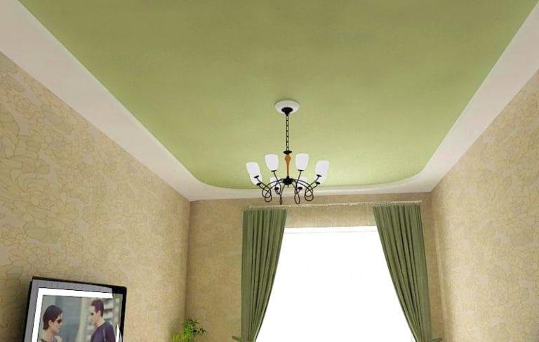Натяжные потолки тканевые двухуровневые зеленые