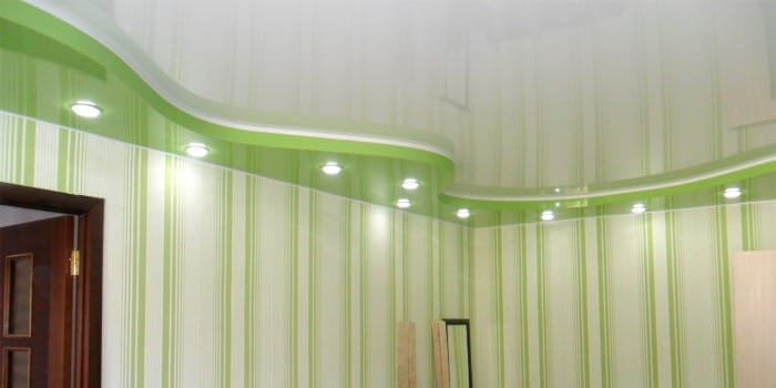 Натяжные потолки немецкие двухуровневые зеленый с белым