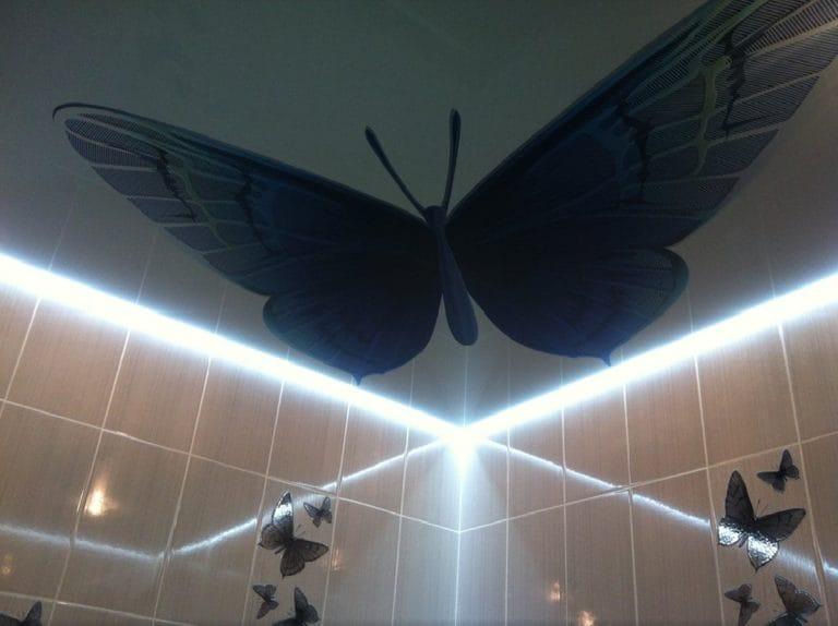 Натяжные потолки парящие фотопечать бабочка