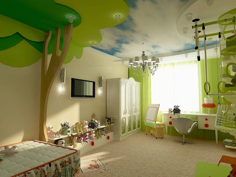 Натяжные потолки многоуровневые фотопечать небо для детской