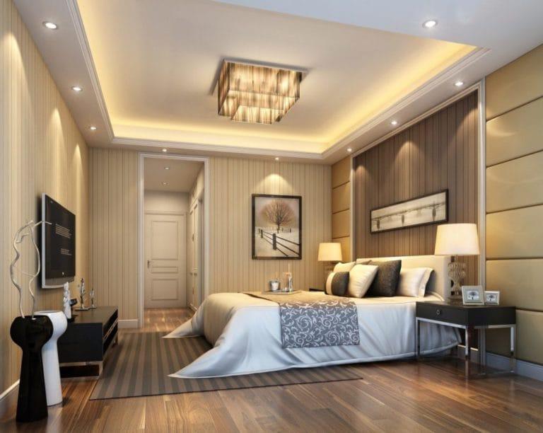 Натяжные потолки двухуровневые белые с подсветкой для спальни