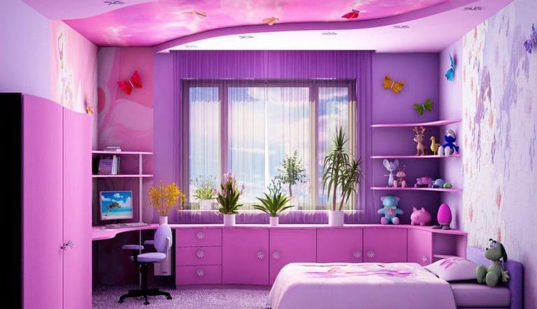Натяжные потолки комбинированные розовые для детской