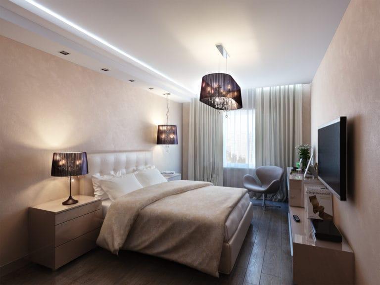 Натяжные потолки матовые белые с подсветкой для спальни