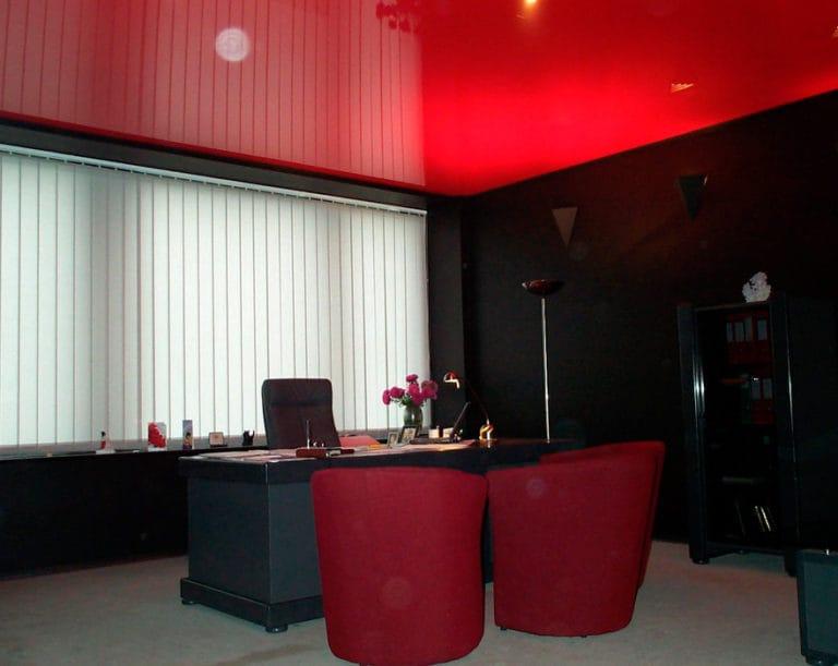 Натяжные потолки красные глянцевые для офиса