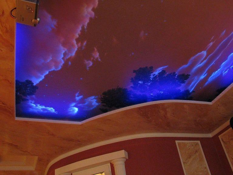 Натяжные потолки звездное небо с подсветкой многоуровневые