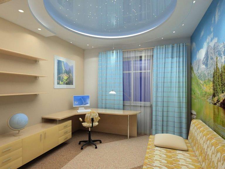 Натяжные потолки двухуровневые с подсветкой для детской овал