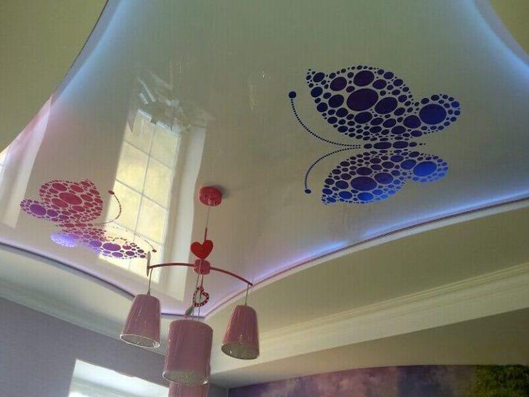 Натяжные потолки перфорированные бабочки многоуровневая конструкция