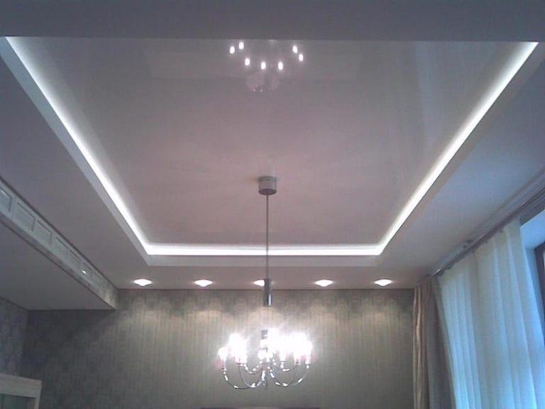 Натяжные потолки парящие белые двухуровневые