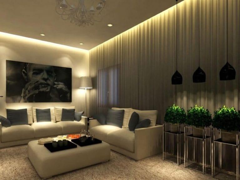 Натяжные потолки парящие матовые белого цвета для зала