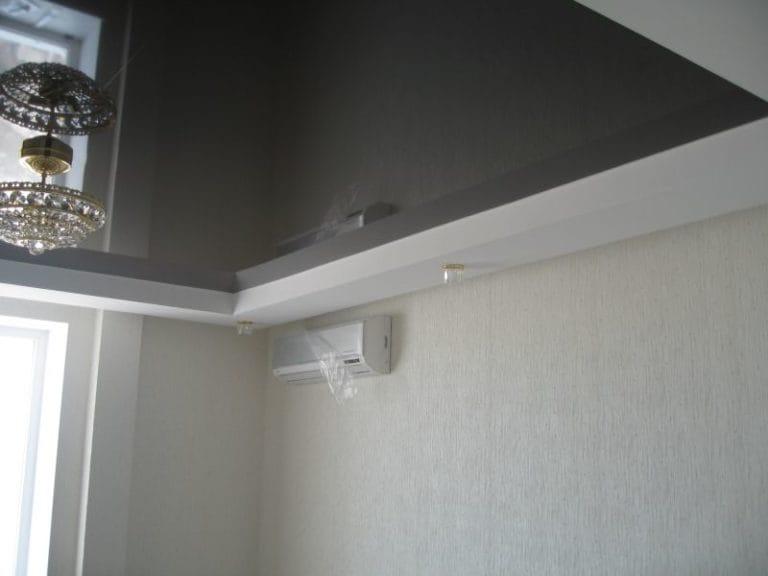 Натяжные потолки французские двухуровневые серые