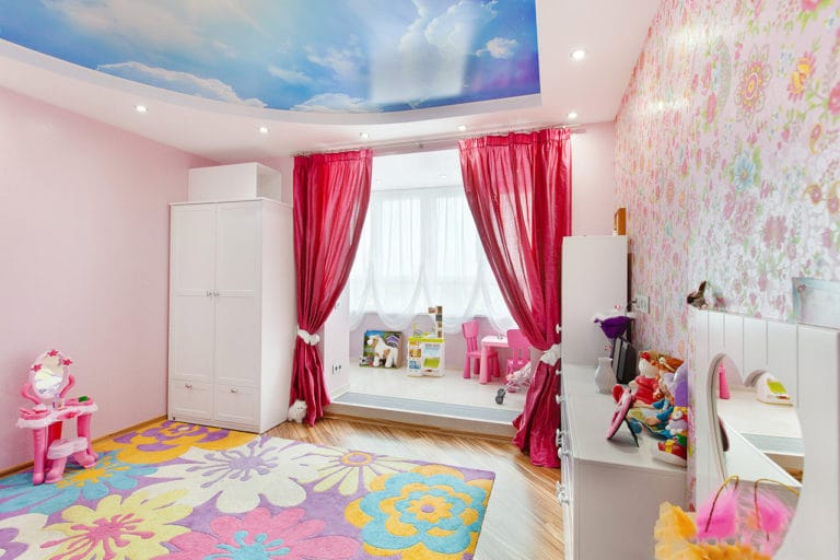 Натяжные потолки глянцевые двухуровневые фотопечать небо для детской