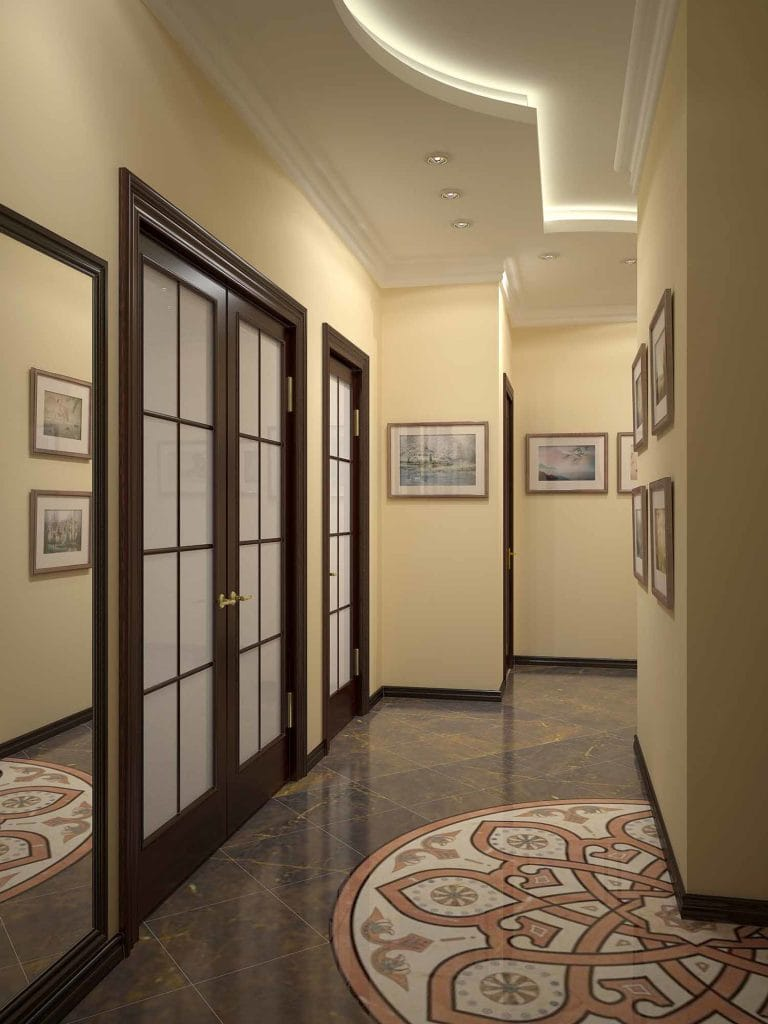 Натяжные потолки двухуровневые белые для прихожей