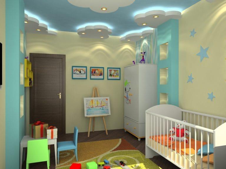Натяжные потолки многоуровневые белые облака для детской