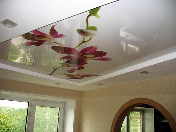 Натяжные потолки двухуровневые глянцевые расписанные цветами