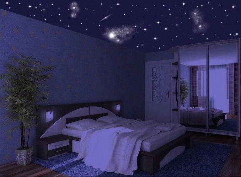 Натяжные потолки звездное небо для спальни одноуровневые