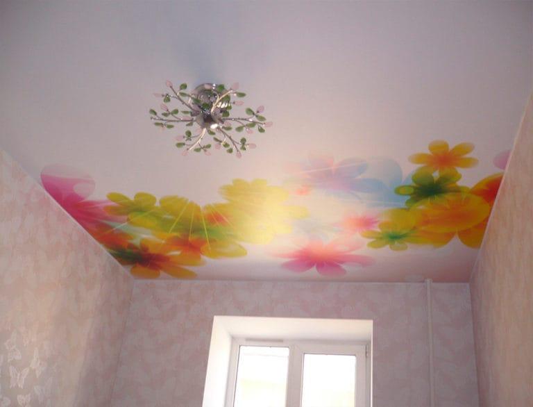 Натяжные потолки сатиновые одноуровневые расписные цветы