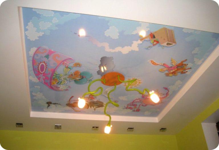 Натяжные потолки двухуровневые расписные для детской