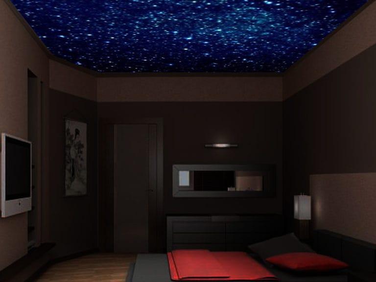 Натяжные потолки одноуровневые звездное небо глянцевые для спальни