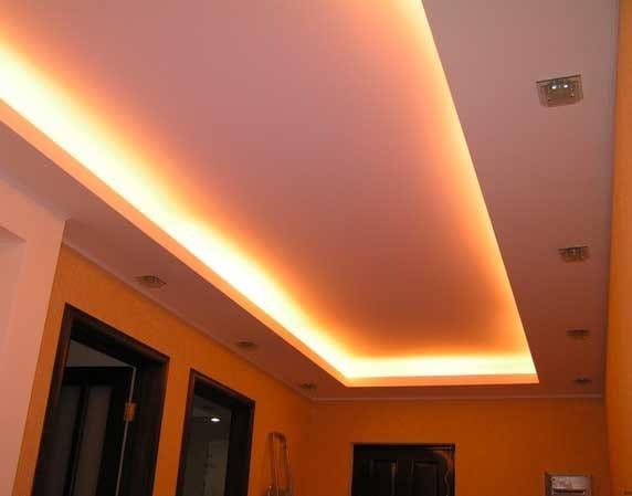 Натяжные потолки белые матовые с подсветкой для прихожей