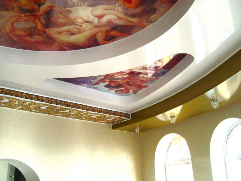 Натяжные потолки многоуровневые художественное оформление