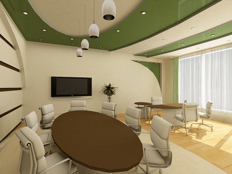 Натяжные потолки комбинированные белый с зеленым для офиса