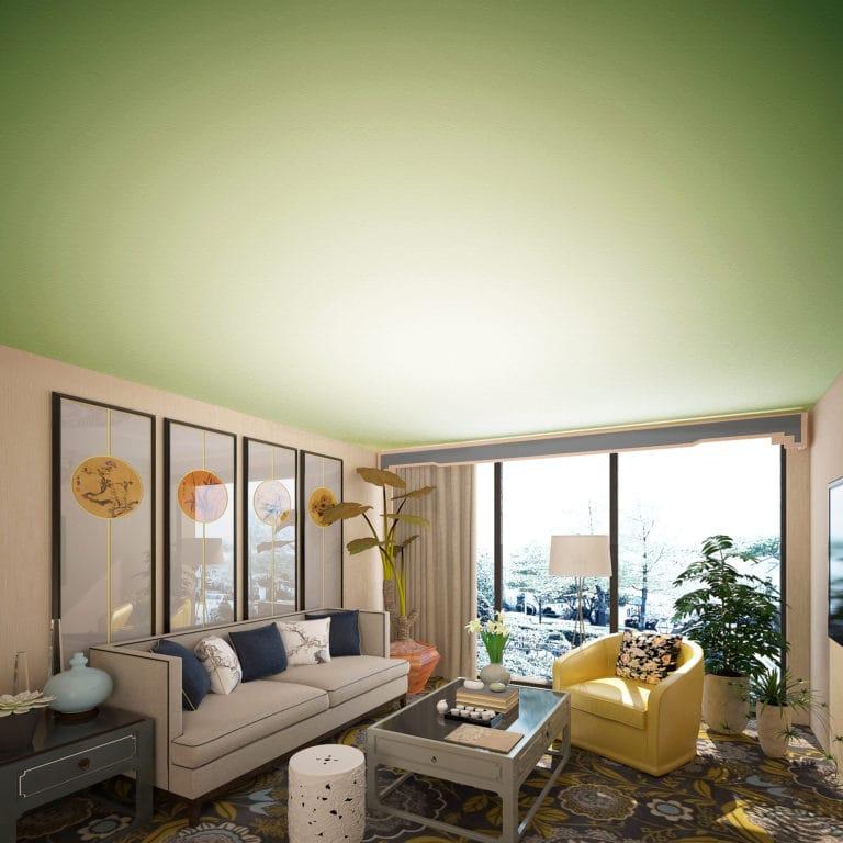 Натяжные потолки тканевые зеленого цвета для зала
