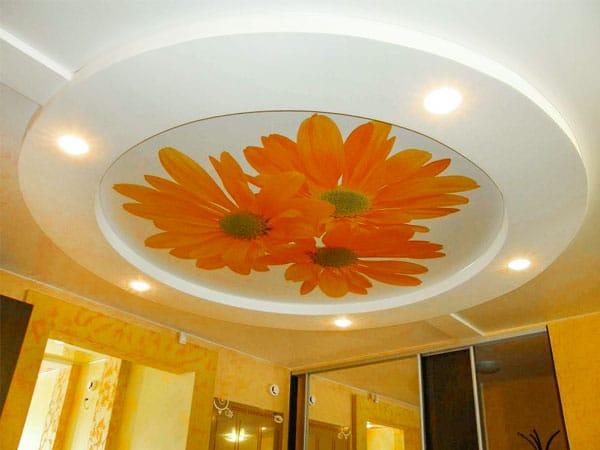 Натяжные потолки 3D фотопечать цветы многоуровневые