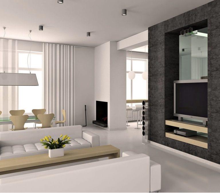 Натяжные потолки матовые одноуровневые белые для зала