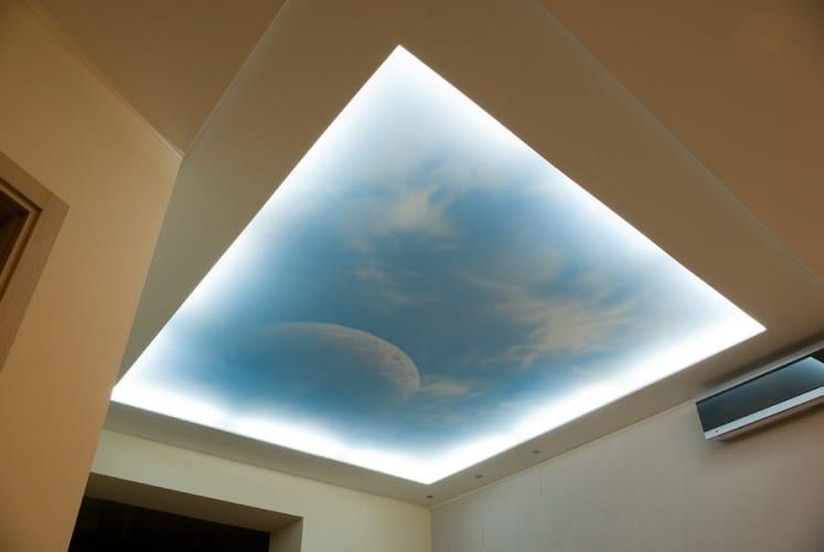 Натяжные потолки фотопечать небо с подсветкой двухуровневые