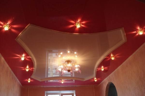 Натяжные потолки французские красные глянцевые двухуровневые