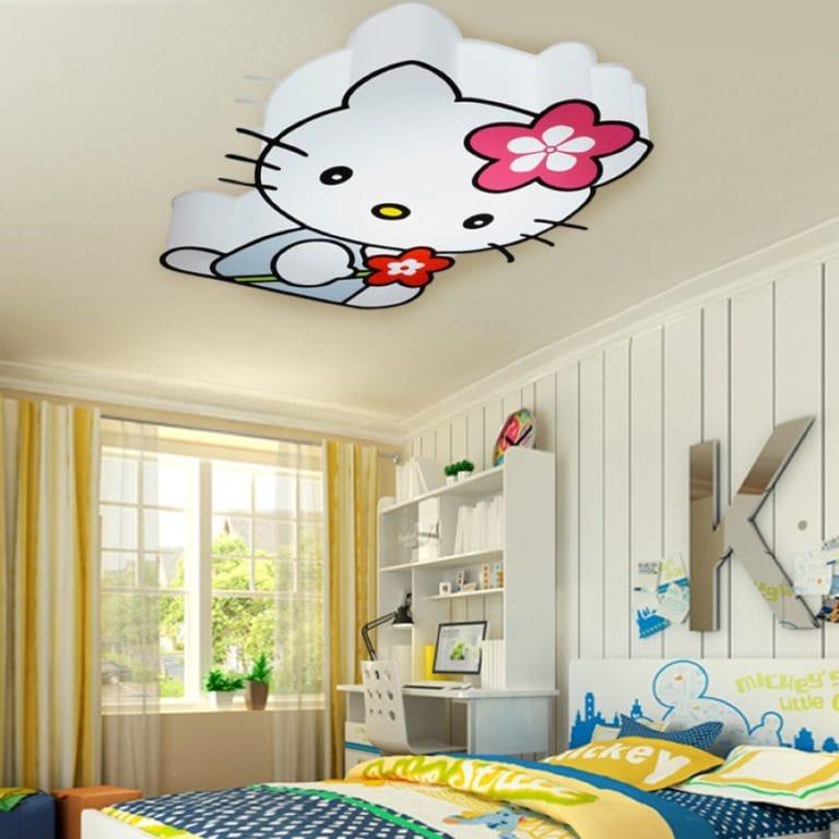 Натяжные потолки комбинированные Хеллоу Китти в детскую