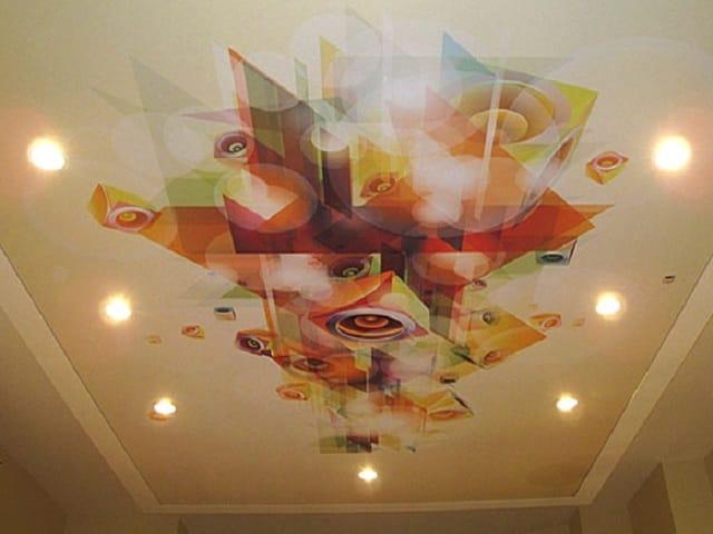 Натяжные потолки 3D двухуровневые абстракция