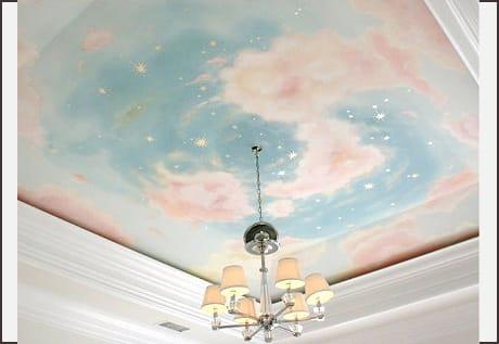 Натяжные потолки художественные матовые небо двухуровневые