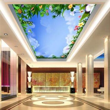 Натяжные потолки с художественным оформлением зелень