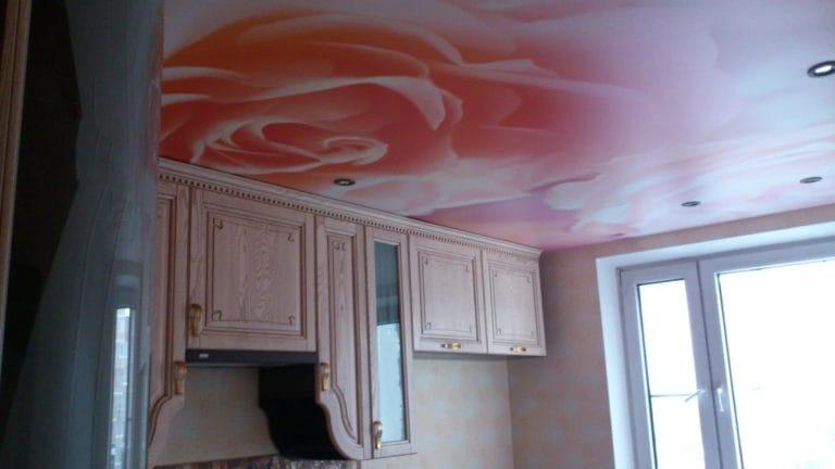 Натяжные потолки фотопечать розы сатиновые для кухни