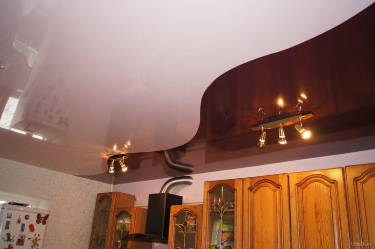 Натяжные потолки комбинированные глянцевые для кухни