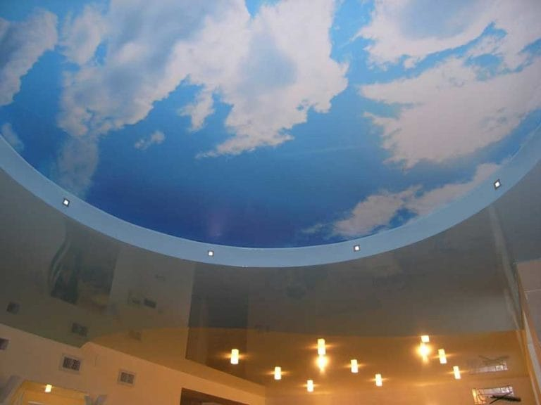 Натяжные потолки с фотопечатью небо двухуровневые
