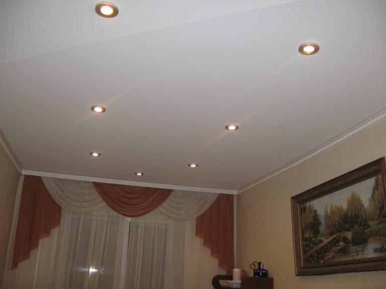 Натяжные потолки одноуровневые матовые для зала с подсветкой