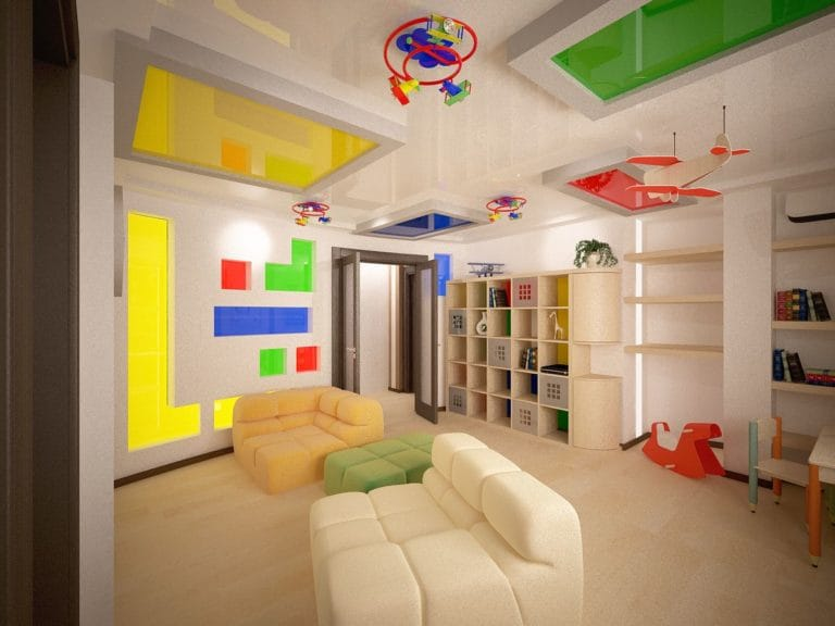 Натяжные потолки комбинированные многоуровневые в детскую