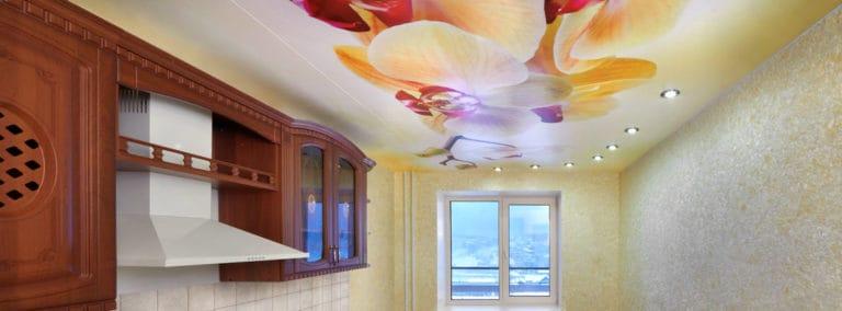 Натяжные потолки сатиновые для кухни фотопечать орхидея
