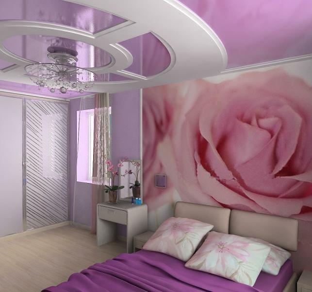 Натяжные потолки немецкие розовый глянец для спальни