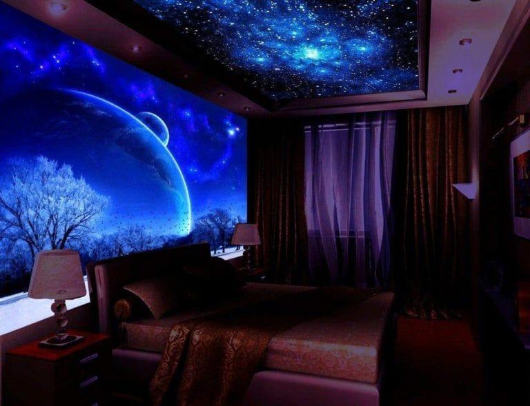 Натяжные потолки звездное небо с подсветкой для спальни двухуровневые