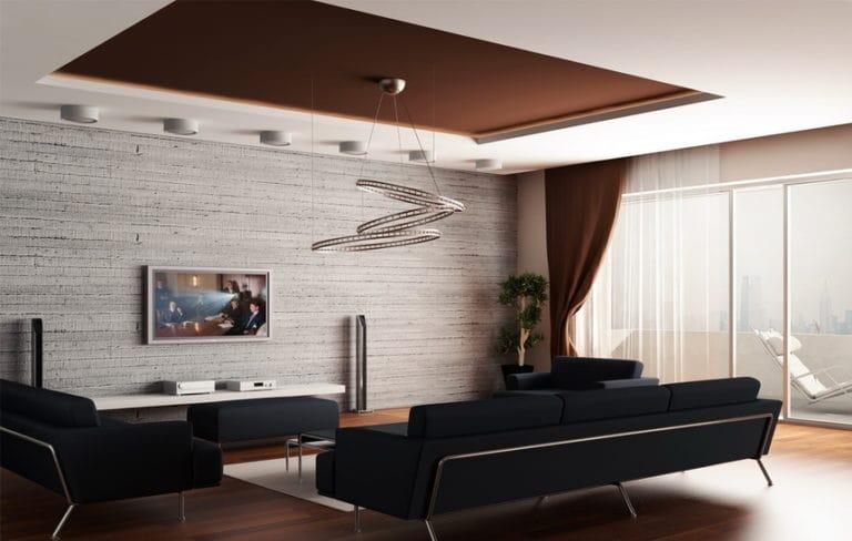 Натяжные потолки тканевые двухуровневые коричневые для зала