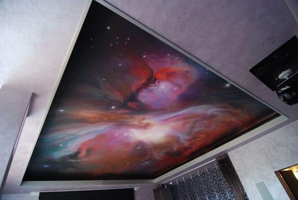 Натяжные потолки фотопечать звездное небо двухуровневые