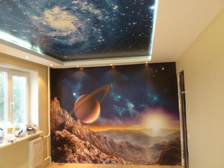 Натяжные потолки звездное небо 3D