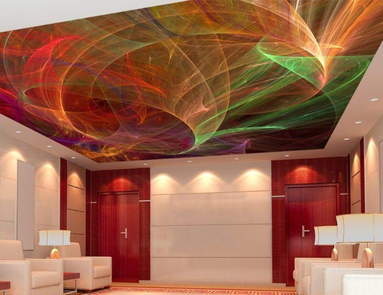 Натяжные потолки 3D одноуровневые с подсветкой