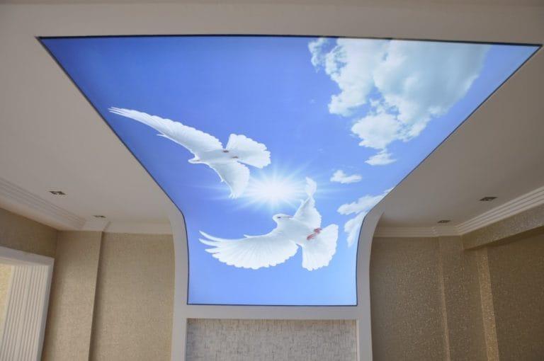 Натяжные потолки с фотопечатью 3D с подсветкой