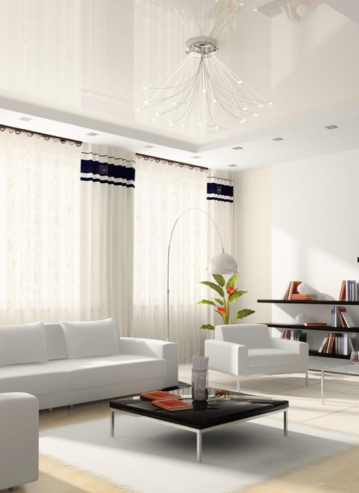 Натяжные потолки белые глянцевые для зала