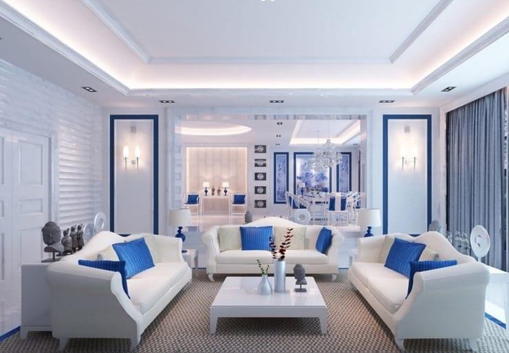 Натяжные потолки многоуровневые с подсветкой белые матовые для зала