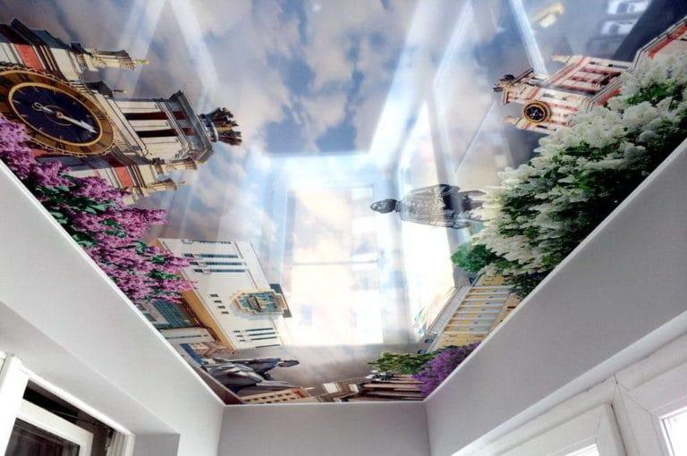 Натяжные потолки художественные 3D с подсветкой